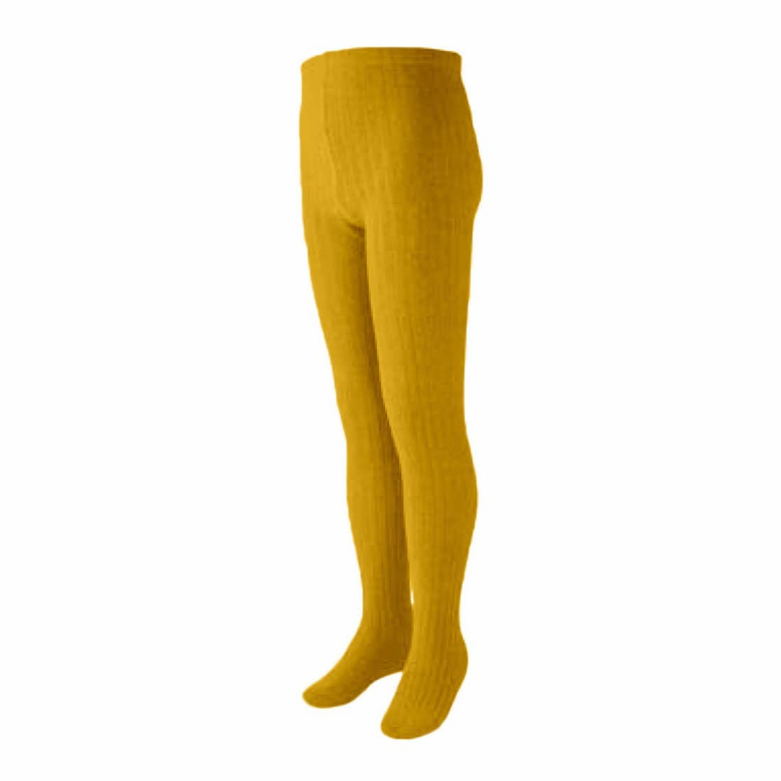 Curry Ribbed Cotton Tights