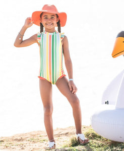 Saltwater Stripe Flutter One Piece Suit