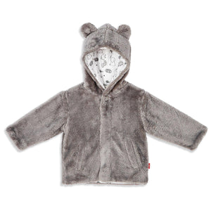 Minky Grey Fleece Magnetic Jacket