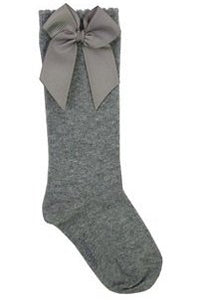 Grey Knee Socks W/ Gross Grain Side Bow