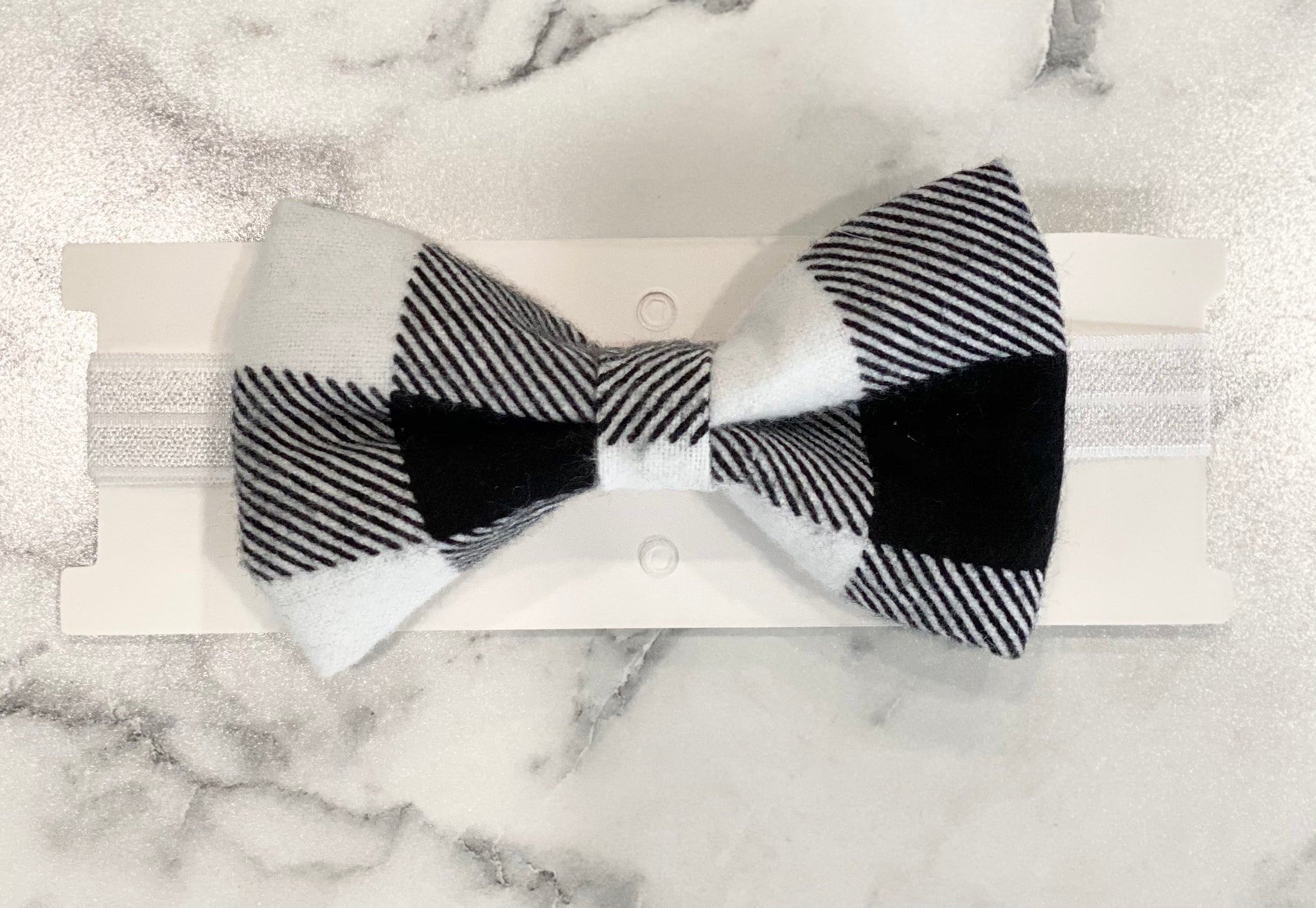 Black/White Plaid Bow Tie