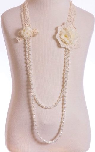 Double Ivory Flower Necklace