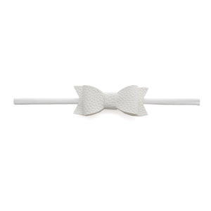 Leather Skinny Bow - White