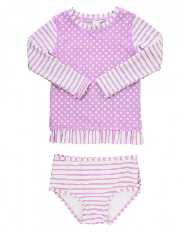 Lilac Striped Polka Long Sleeve 2pc Suit