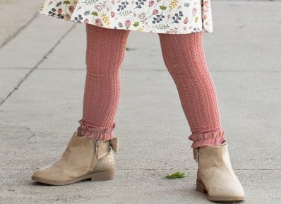Mauve Cable Knit Footless Ruffle Tights