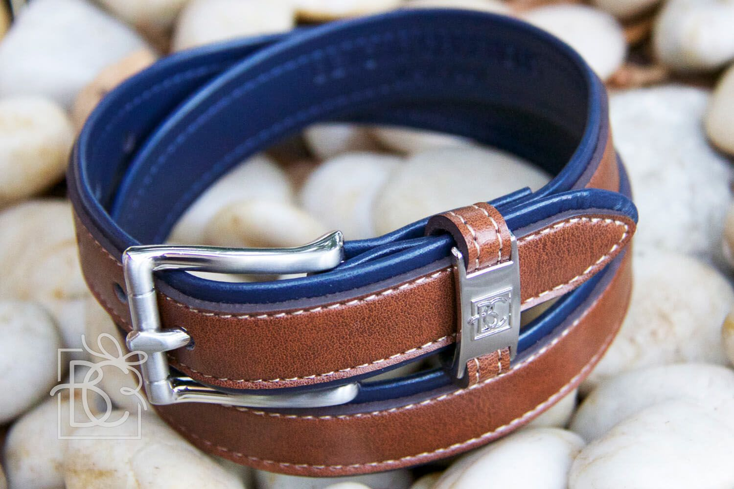 Navy/Light Brown Double Leather Belt