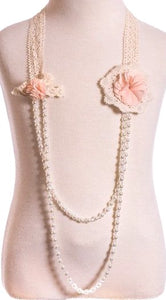 Double Peach Flower Necklace