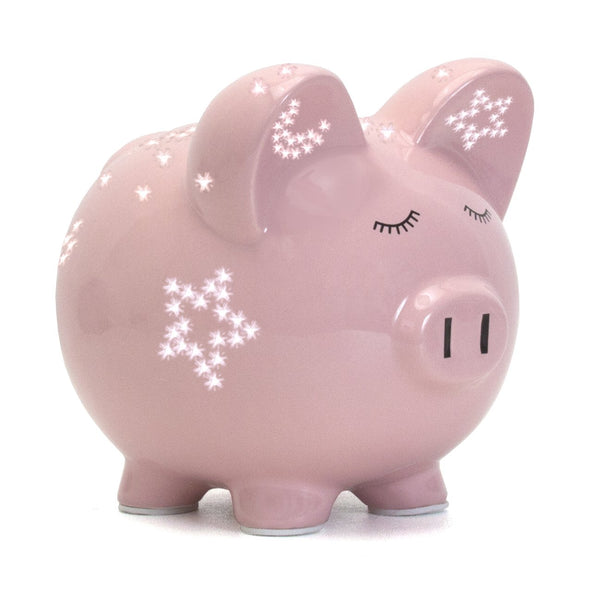 Pink Night Light Piggy Bank
