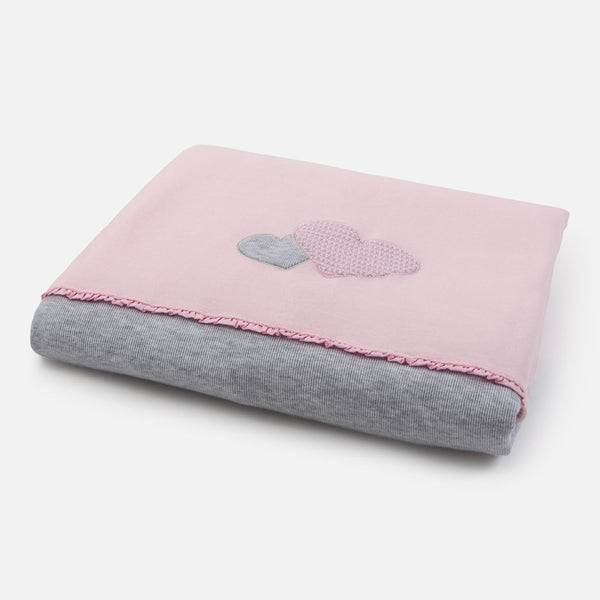 Pink/Grey Heart Blanket