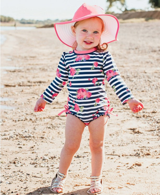Rosy Floral Stripe One Piece Suit