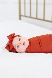 Rust Knit Headband Bow