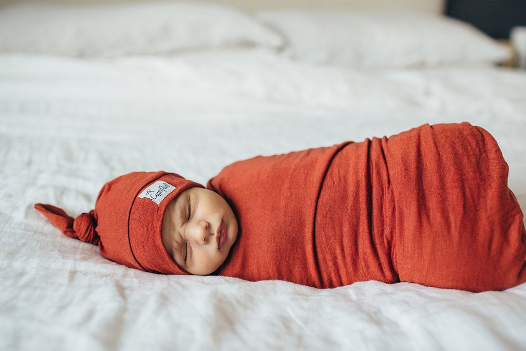 Rust Knit Swaddle Blanket