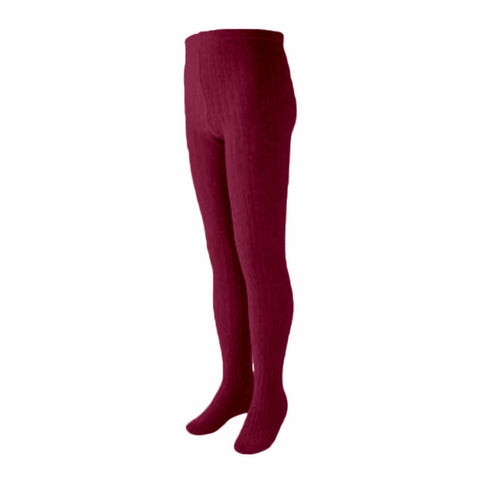 Scarlet Ribbed Cotton Tights