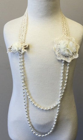 Double White Flower Necklace