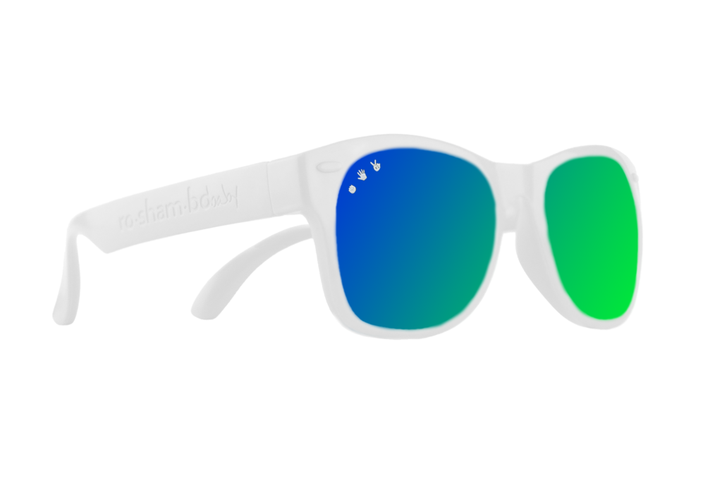 White W/ Green-Blue Mirrored Toddler Shades