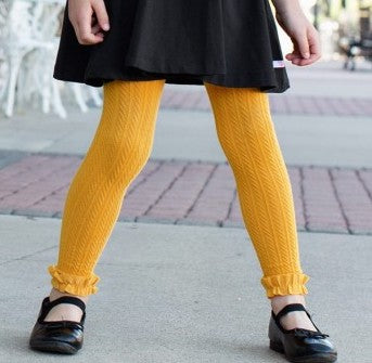 Golden Yellow Footless Ruffle Tights