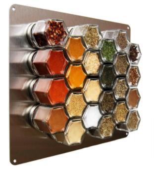 Magnetic jars are a great kitchen hack for keeping your spices organized.