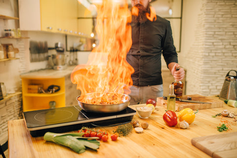 Fire, a common kitchen safety problem.