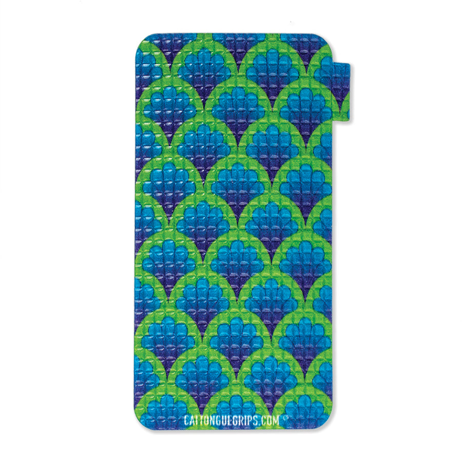 Mobile phone grip with a colorful peacock inspired design