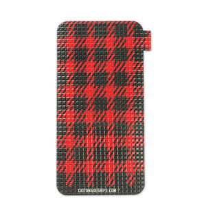 Red plaid cell phone grip for extra GRIPTION