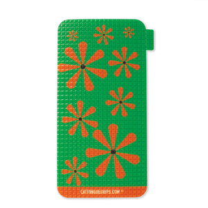 Green and orange retro inspired cell phone grip