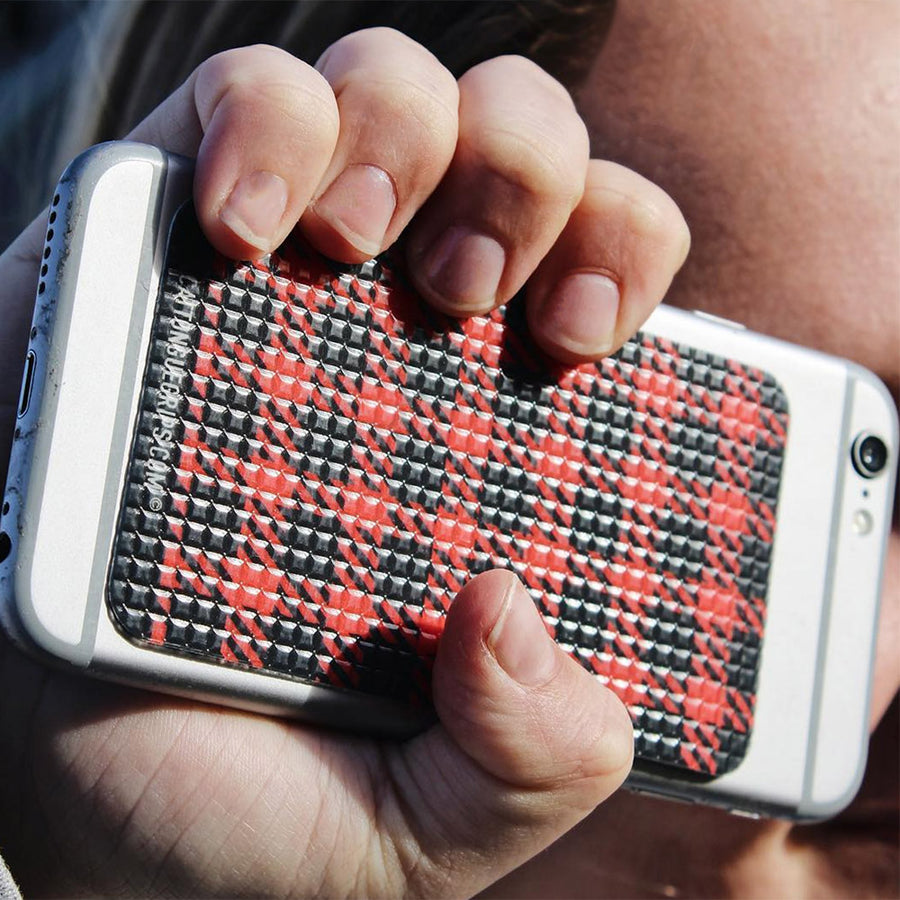 Get GRIPTION with this red plaid cell phone case