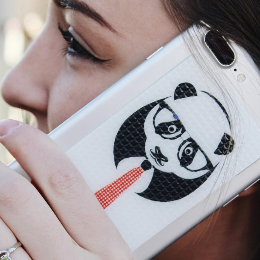 Panda graphic on a cell phone grip that will give you GRIPTION!