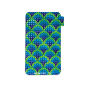 Cell phone grip with a colorful peacock inspired design