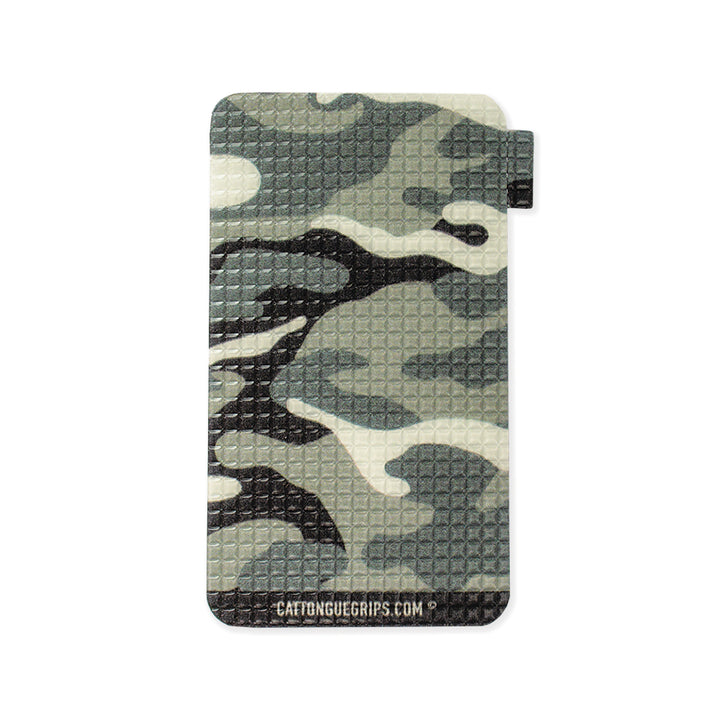 Grey camo cell phone grip for your mobile device