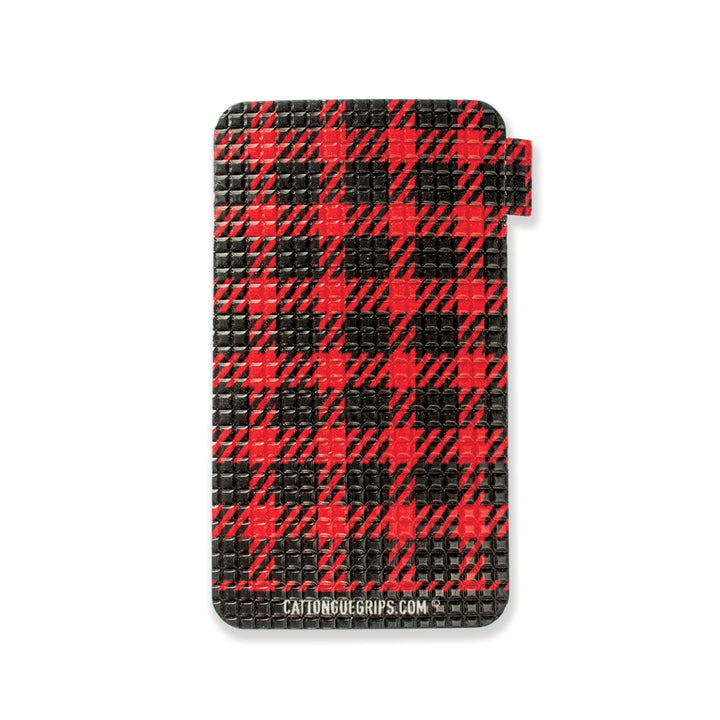 Red plaid cell phone grip for your mobile device