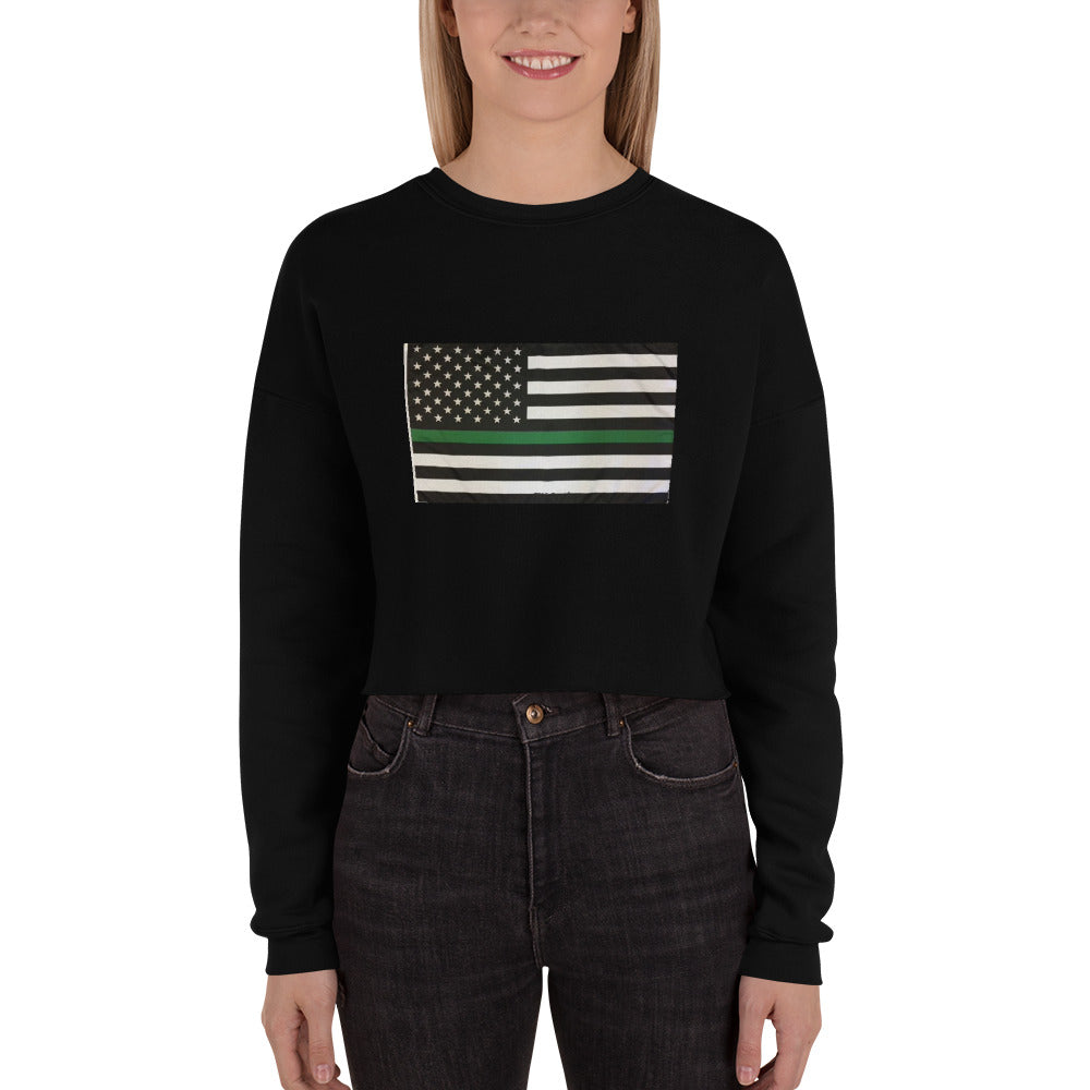 Usa Green Flag Women's Crop Sweatshirt - Making Moves Daily