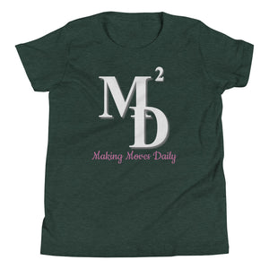 M2D Youth Short Sleeve T-Shirt w/ Pink Letters - Making Moves Daily