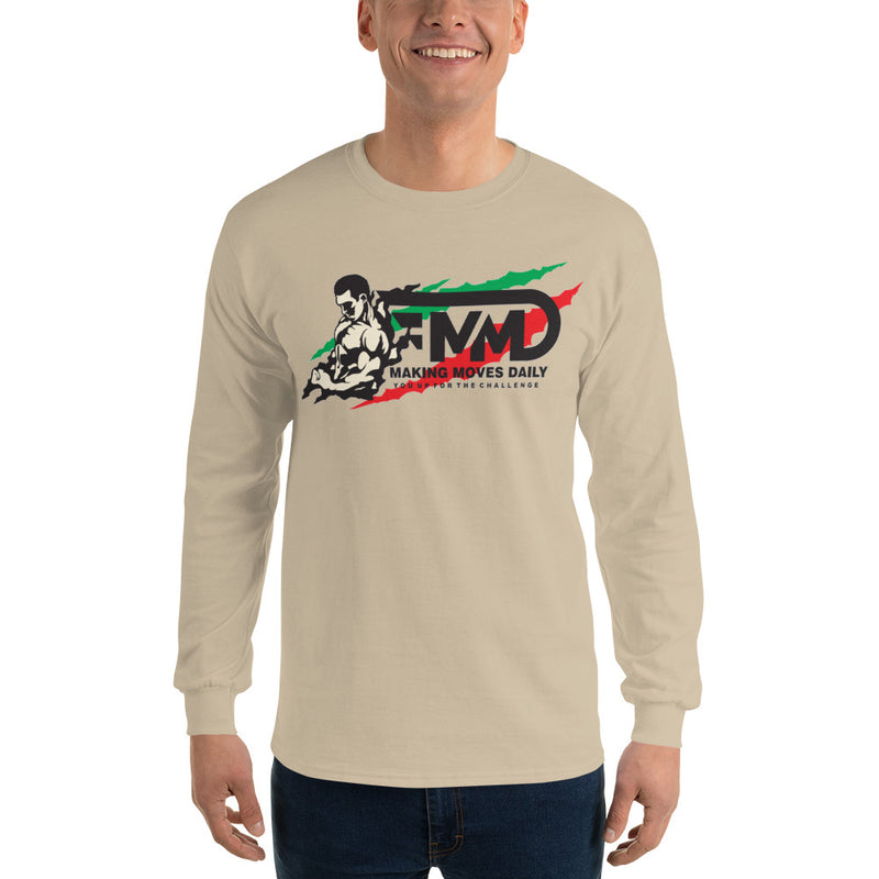 MMD Muscle Man Long Sleeve T-Shirt B w/ Black Print - Making Moves Daily