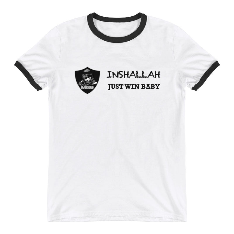 Raiders Inshalla White Ringer T-Shirt printed in the back - Making Moves Daily