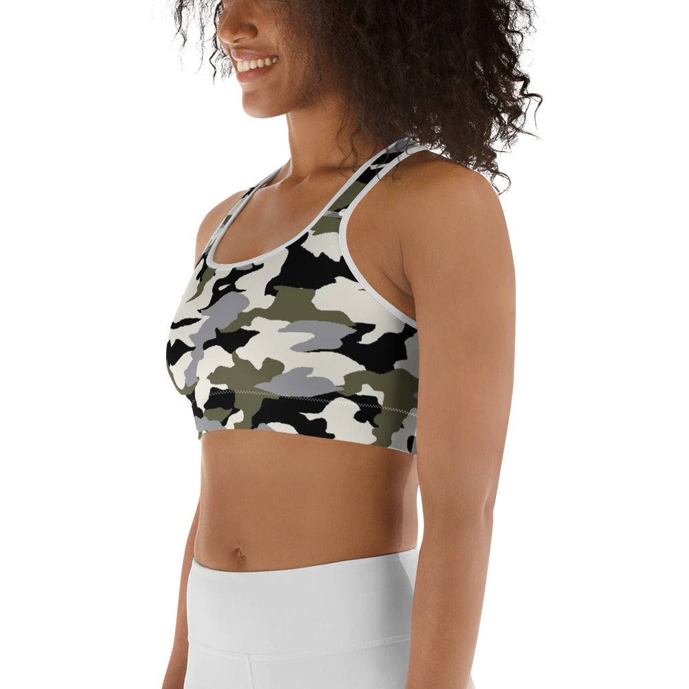 MMD Green/Black/White Camo Sports bra - Making Moves Daily