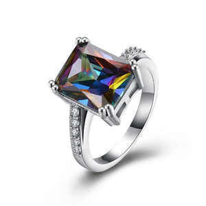 Mystic Topaz Emerald Cut Pav'e Cocktail Ring