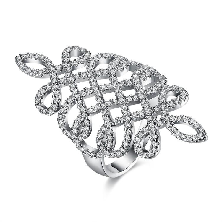Micro-Pav'e Swarovski Elements Intertwined Grape Vine Cocktail Ring