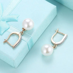 Micro-Pav'e Pearl Huggie Earrings Set in 18K Gold