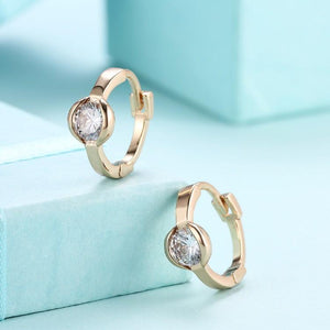 Classic Circular Crystal Huggies Set in 18K Gold
