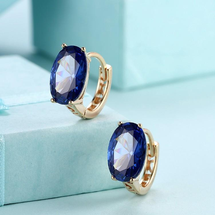 Simulated Sapphire Huggie Earrings Set in 18K Gold