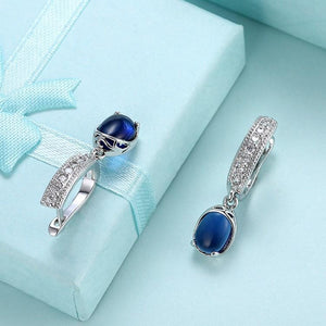 Simulated Micro-Pav'e Leverback Earrings Set in 18K White Gold