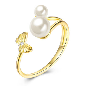 Sterling Silver Adjustable Duo Pearls Ring