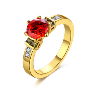 Princess Cut Ruby Multi-Gem Ring in Gold