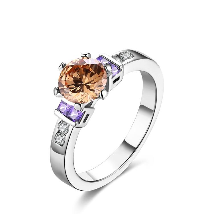 Amethyst & Citrine Multi Gem Ring in White Gold