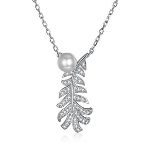 Fresh Water Pearl Pave Leaf Sterling Silver Swarovski Crystal Necklace