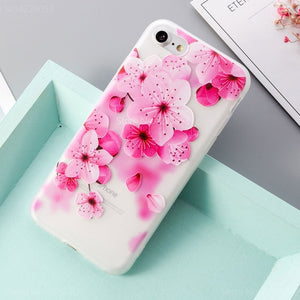Soft TPU 3D Relief Floral Phone Cases For iPhone SE Case 6 8 7 Plus Flower Leaves XS XS Max Back Cover For iPhone X 5 5s Case