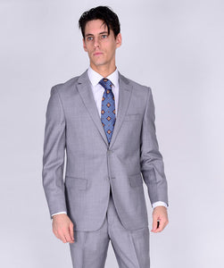 M46306-2 Mantoni Collection 2-PC 100% Wool Men's Suit - Light Gray