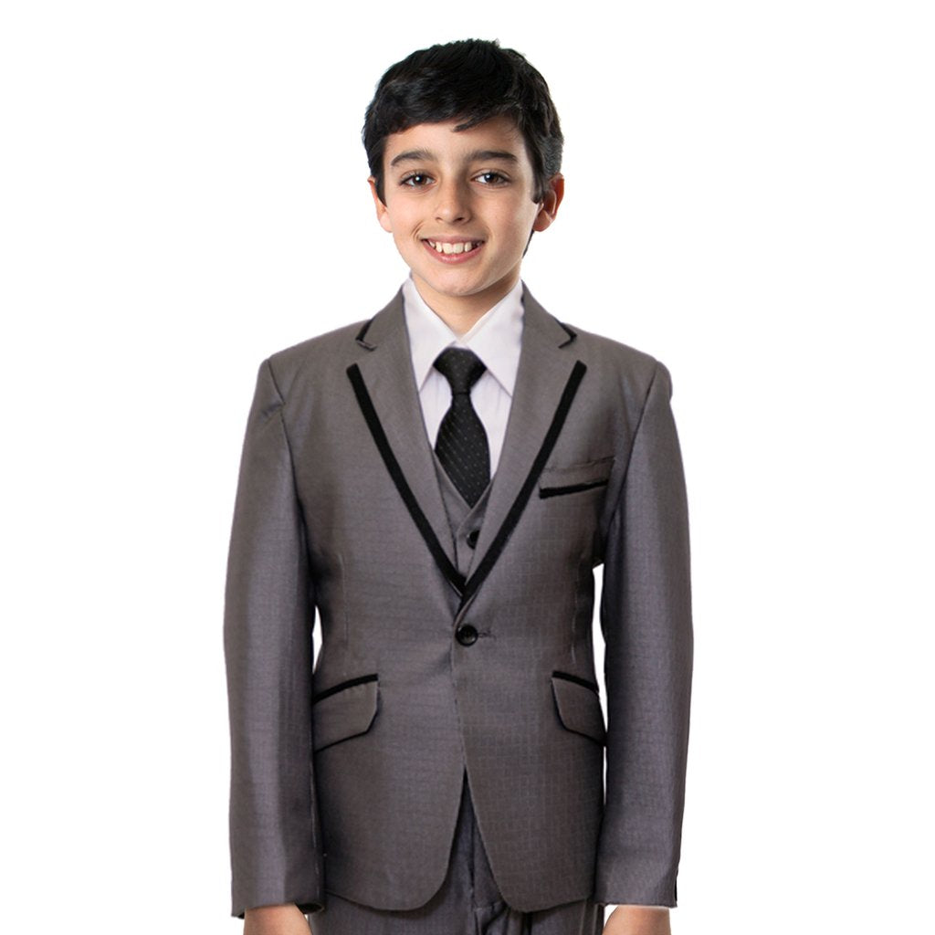 BOYS 3-PIECE SATIN TRIM SUIT SET WITH FREE MATCHING SHIRT & TIE