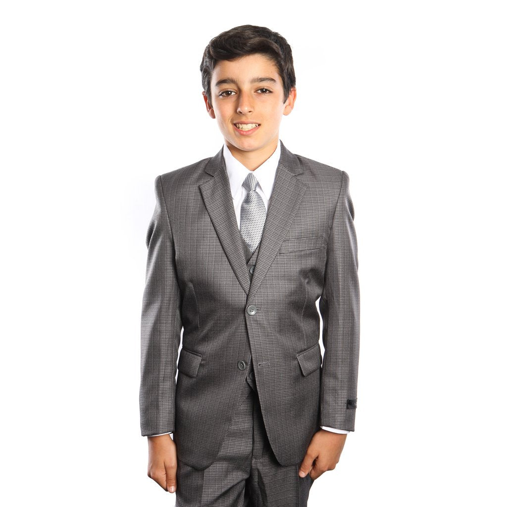 5-PC HOUNDSTOOTH BOYS SUIT WITH MATCHING SHIRT & TIE-B362