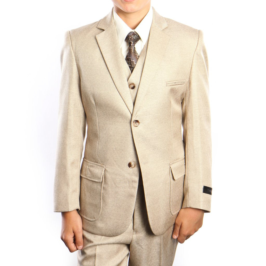 6-PC SOLID BOYS SUIT WITH SHIRT & TIE - B385